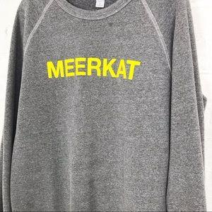Meerkat raglan crew gray sweatshirt large